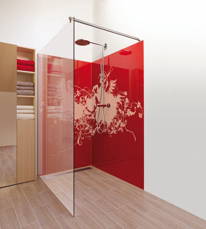 Dusche mit bedruckter Glaswand Glasduschen, Dusche, Glaswand