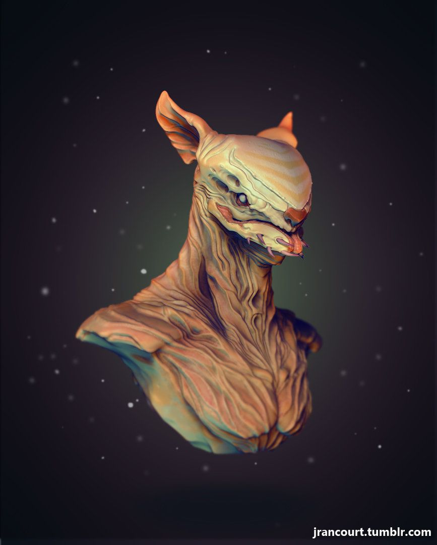 Creature Bust, Jonathan Rancourt on ArtStation at https://www.artstation.com/artwork/creature-bust-adfabeb3-2bd4-440c-8259-28e56739a265