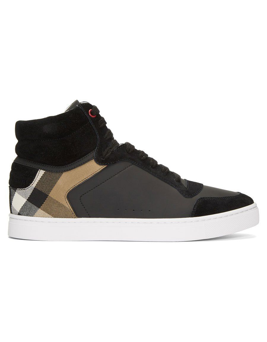 66e6a5522d3 BURBERRY Black Reeth High-Top Sneakers · VERGLE