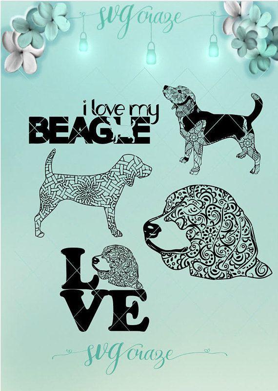 Beagle Mandala Zentangle Bundle Svg Dxf Eps Pdf Png Files For