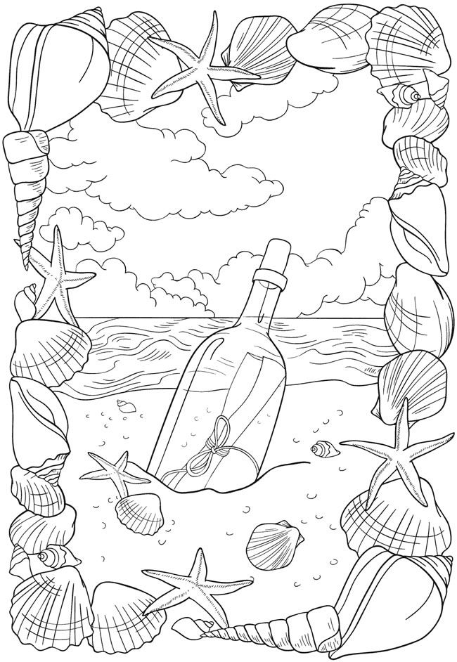 Message In A Bottle Coloring Page Coloring Pages Coloring Books
