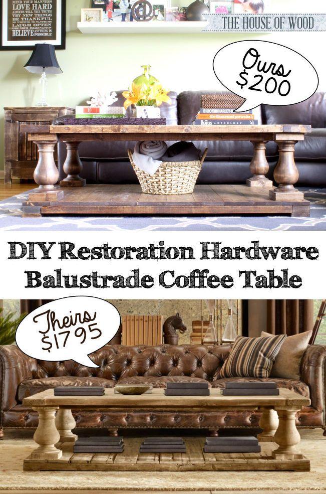 make your own diy restoration hardware inspired coffee table living room tutorials diy. Black Bedroom Furniture Sets. Home Design Ideas