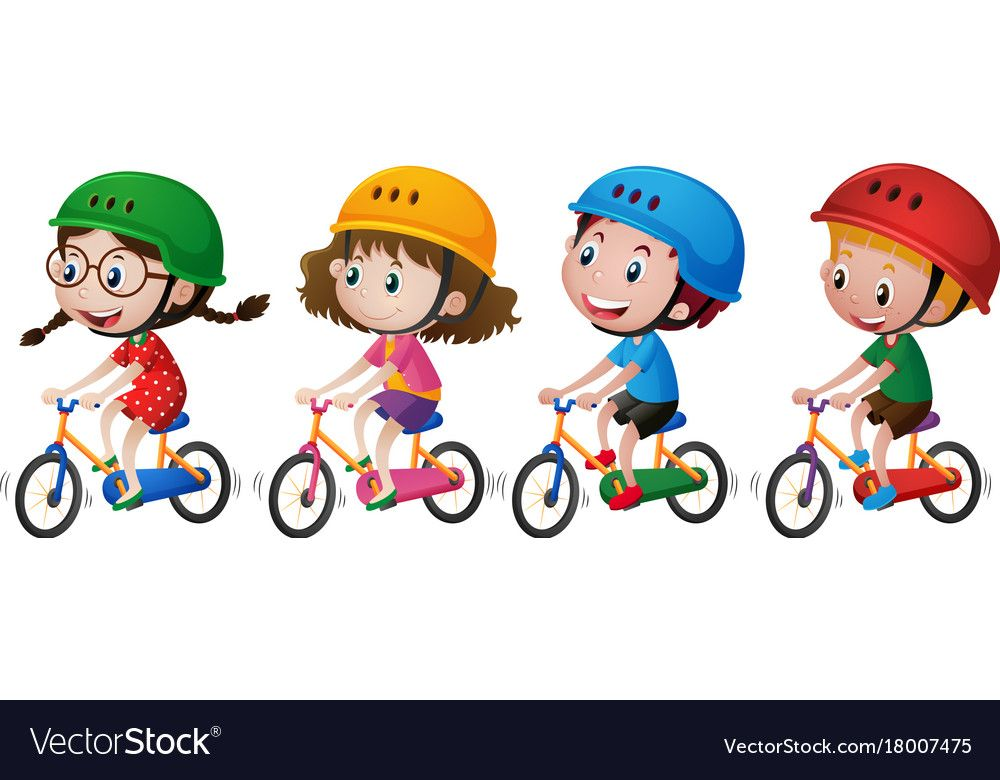 Four Kids Riding Bike With Helmet On Vector Image On Artistas