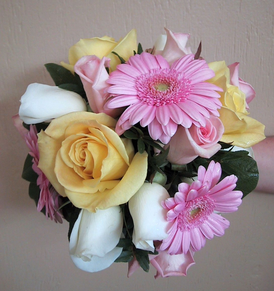 Posy Wedding Bouquet With White Cream And Light Pink Roses Gerbera Daisies Floral