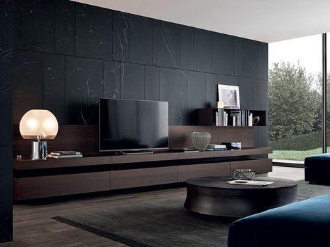 Mueble modular de pared composable lacado con soporte para for Disenos de modulares para living