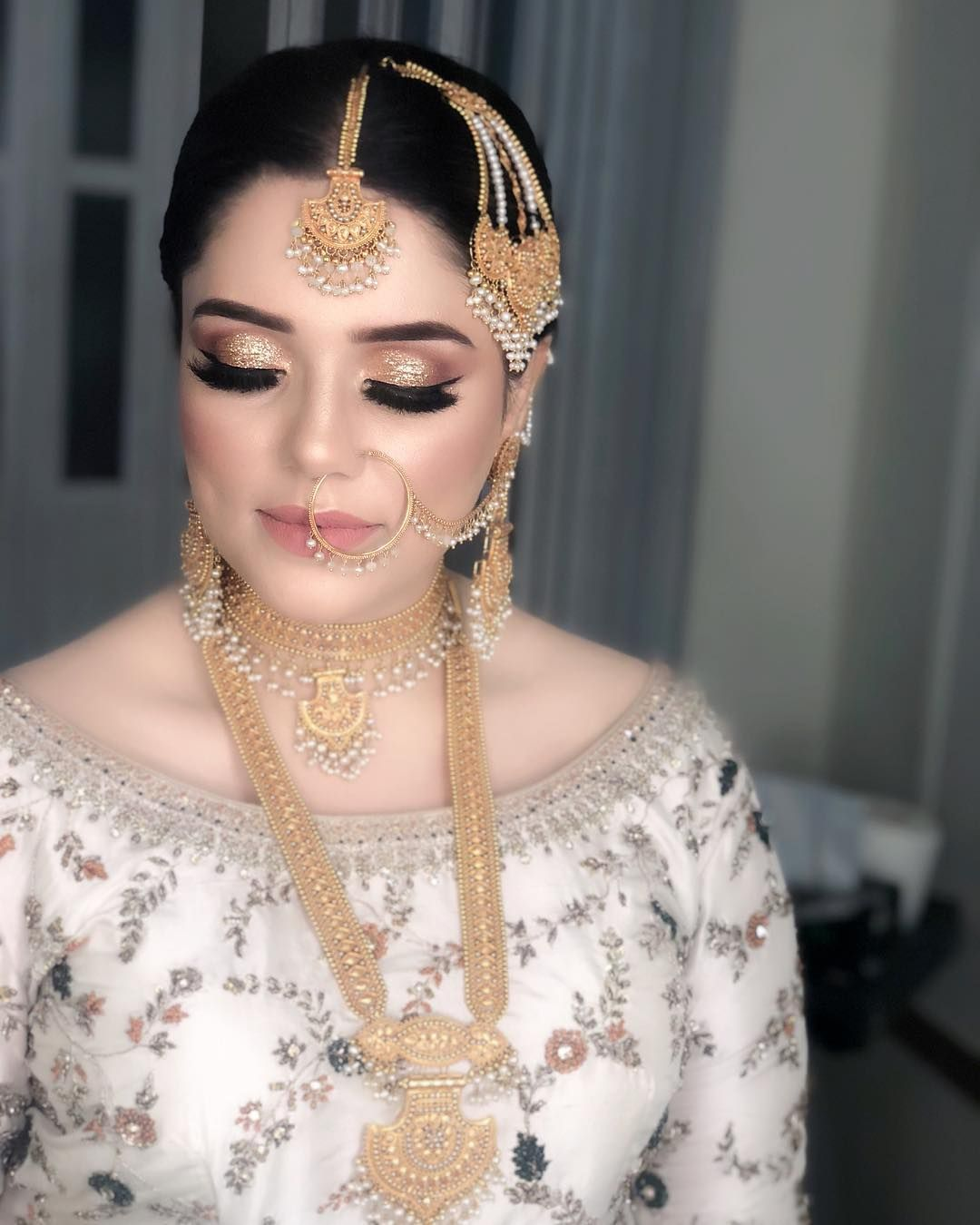 Image may contain 1 person, closeup Pakistani bridal