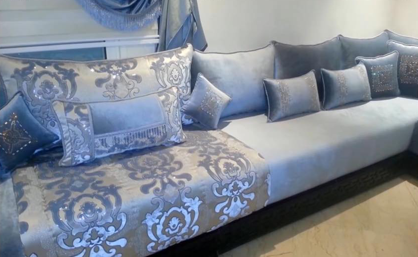 Salon Marocain Bleu Ciel Gris   Amenda Decor