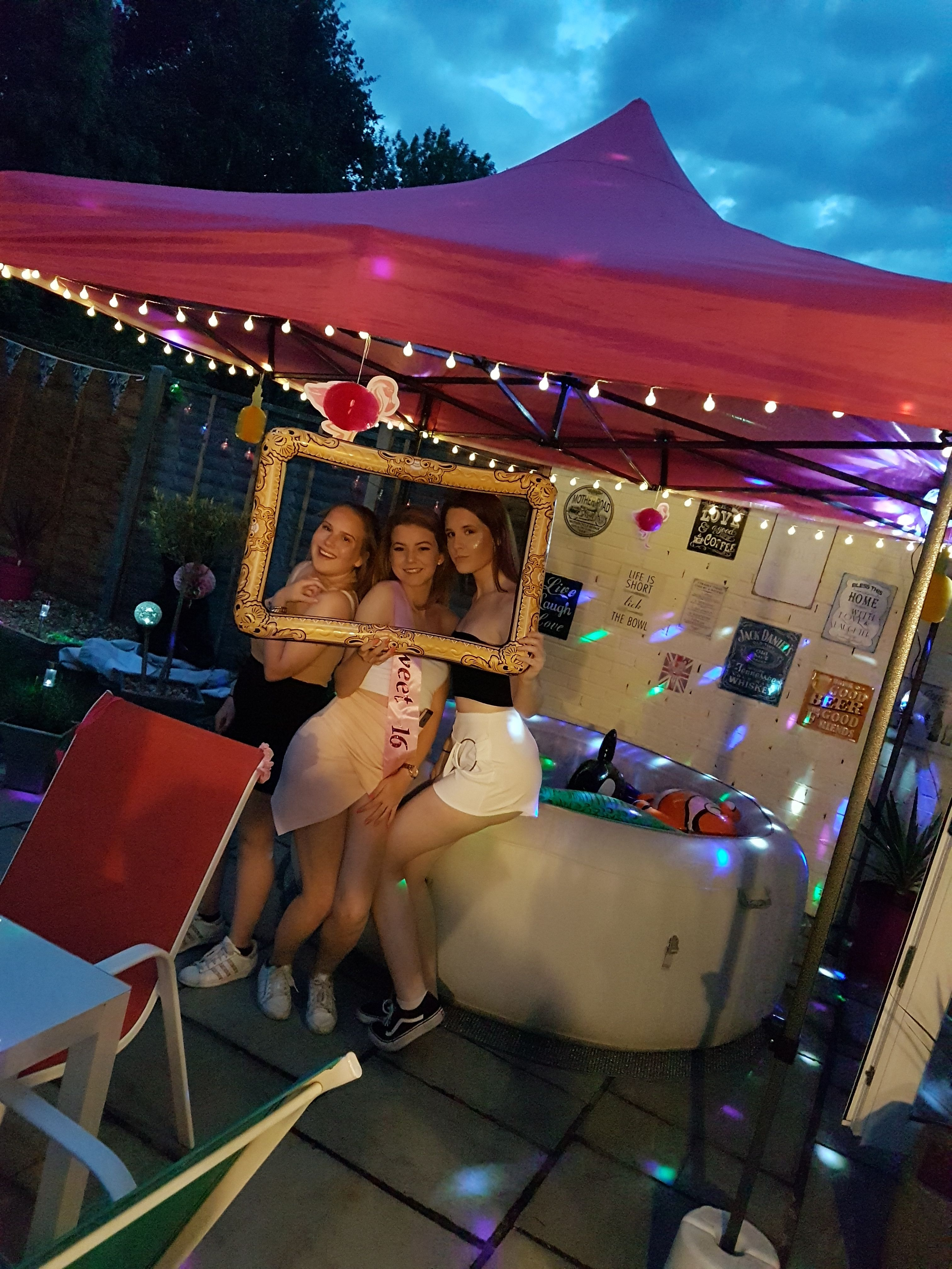 Sweet 16 Hot Tub Party With Pink Gazebo With Images Bbq