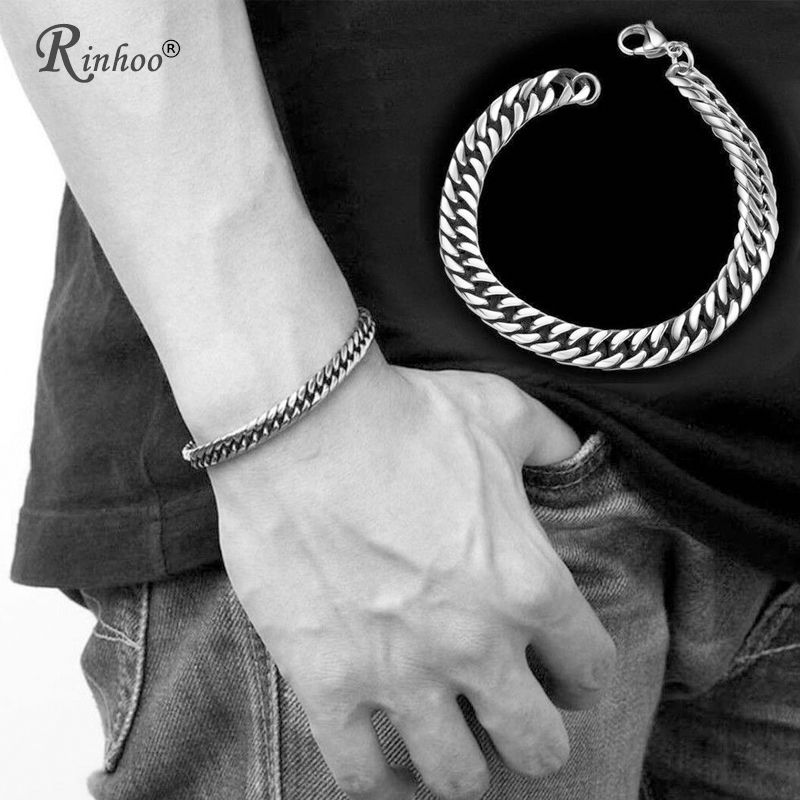 U7 Cross Bracelet Men Jewelry Silver Gold Color 21cm Inri Crucifix Jesus Piece Cuban Link Ha Stainless Steel Chain Link Chain Link Bracelet Mens Silver Jewelry