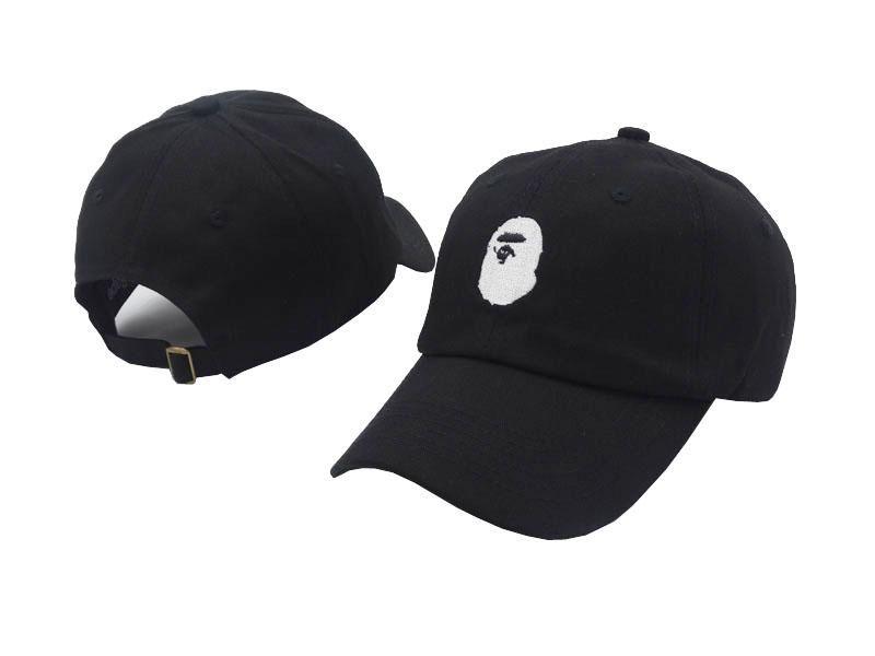 e886417e Men's / Women's A Bathing Ape White Ape Head Logo Embroidery Adjustable  Curved Dad Hat - Black