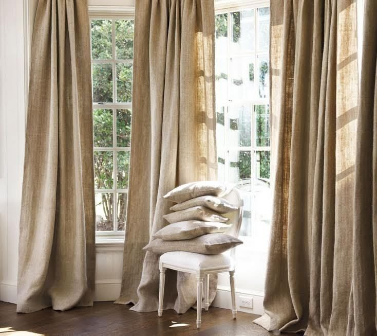 Ikea aina pure natural textured european linen curtains drapes 2 panels 57x98 ikea