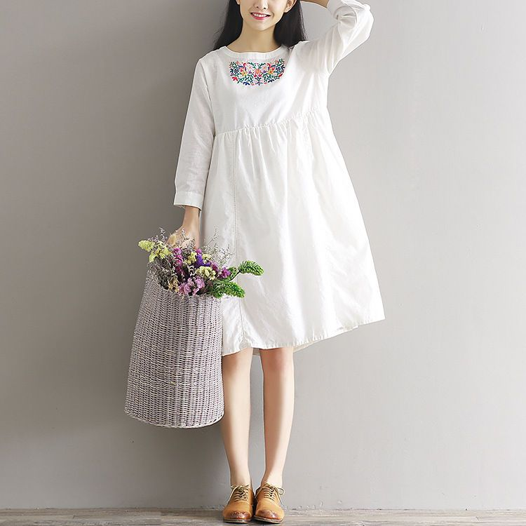 Clover Dream Embroidered Linen Cotton Dress | YESSTYLE