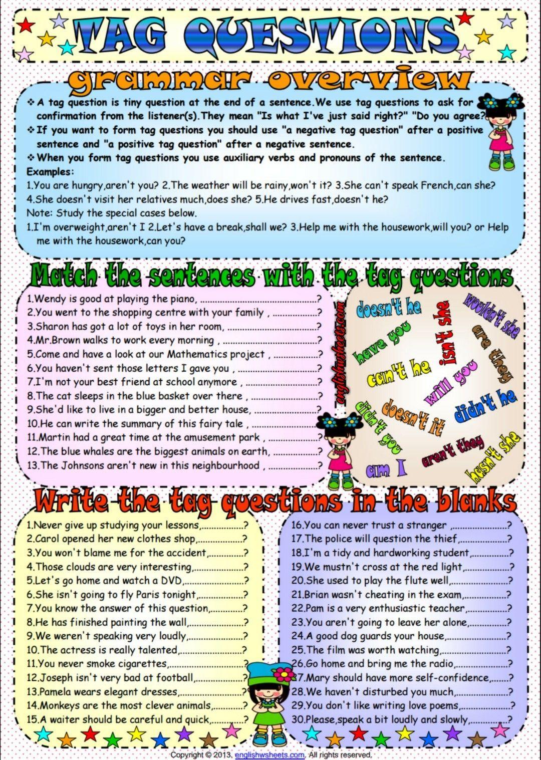 Tag Questions Esl Grammar Exercises Worksheet