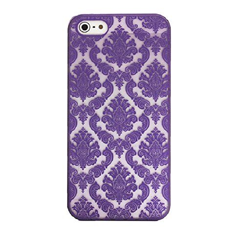 Iphone 5s Case, Shensee Vintage Carved Damask Pattern Matte Hard Plastic Clear Case Silicone Skin Cover for Iphone 5 5s (Blue)