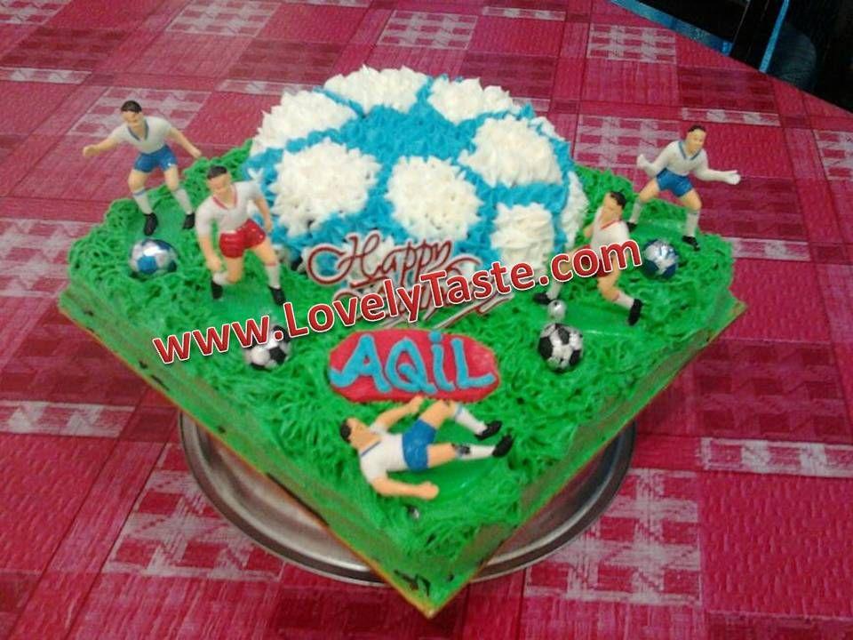 Kek Happy Birthday Tema Padang Bola Kek Coklat Moist Topping Coklat