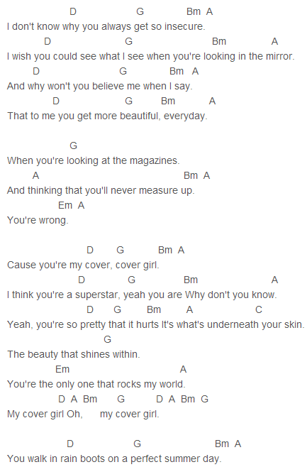 Big Time Rush Cover Girl Chords Capo 1 Big Time Rush Heffron