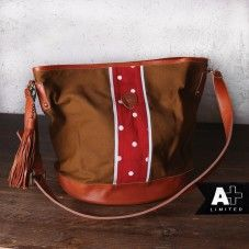 alprausch canvas and leather bag, red white polka dots