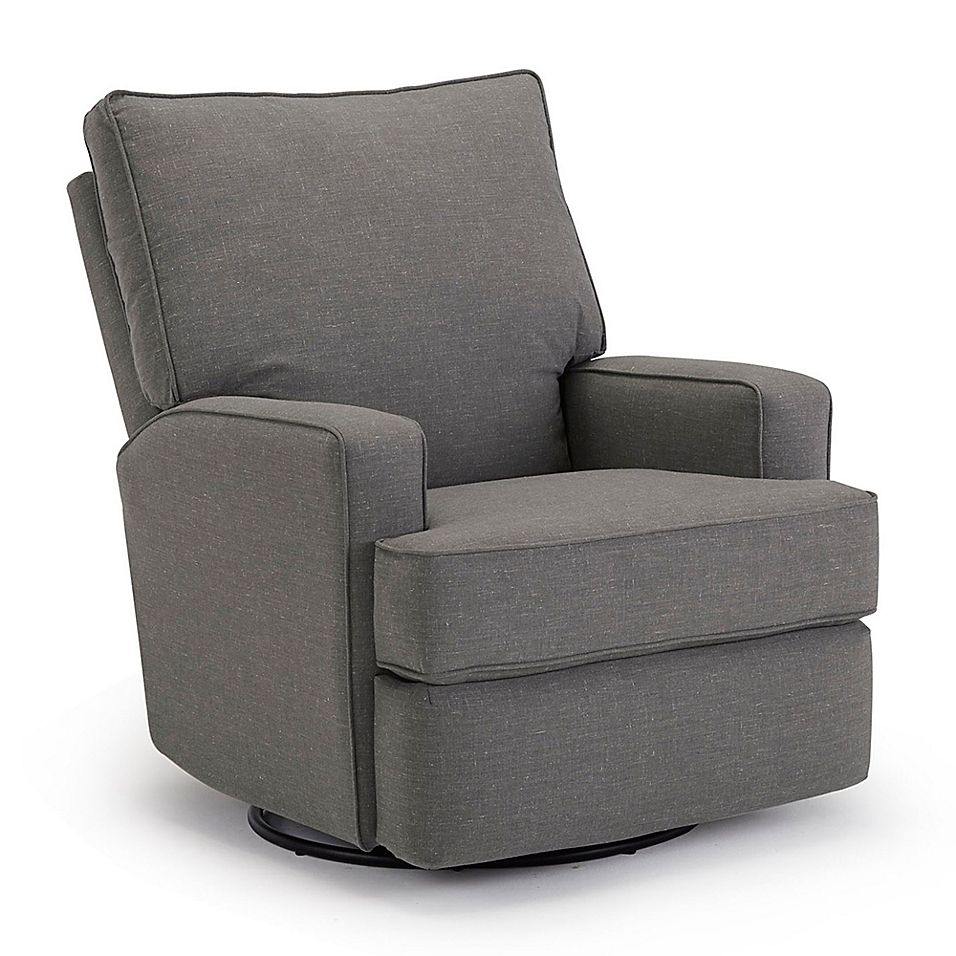 Best Chairs Custom Kersey Swivel Glider Recliner In Charcoal In