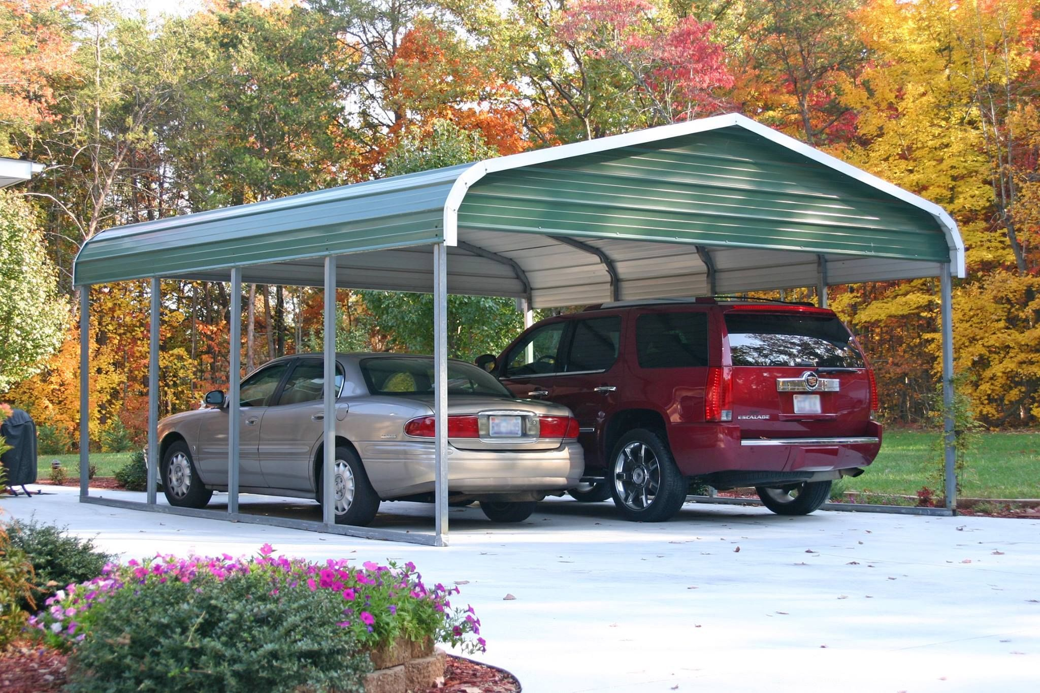 Standard 2 Car Carport 18x21 Regular Style Roof Carport Garage Metal Carports Portable Carport
