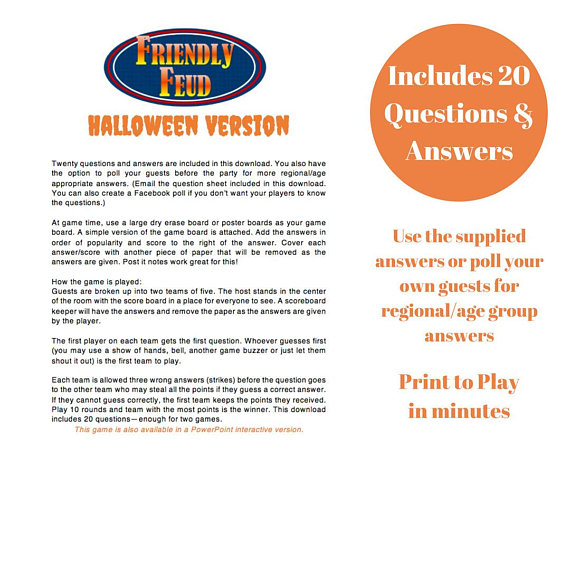 photo regarding Family Feud Printable identified as Halloween Family members Feud 20 Queries and Methods - Printable
