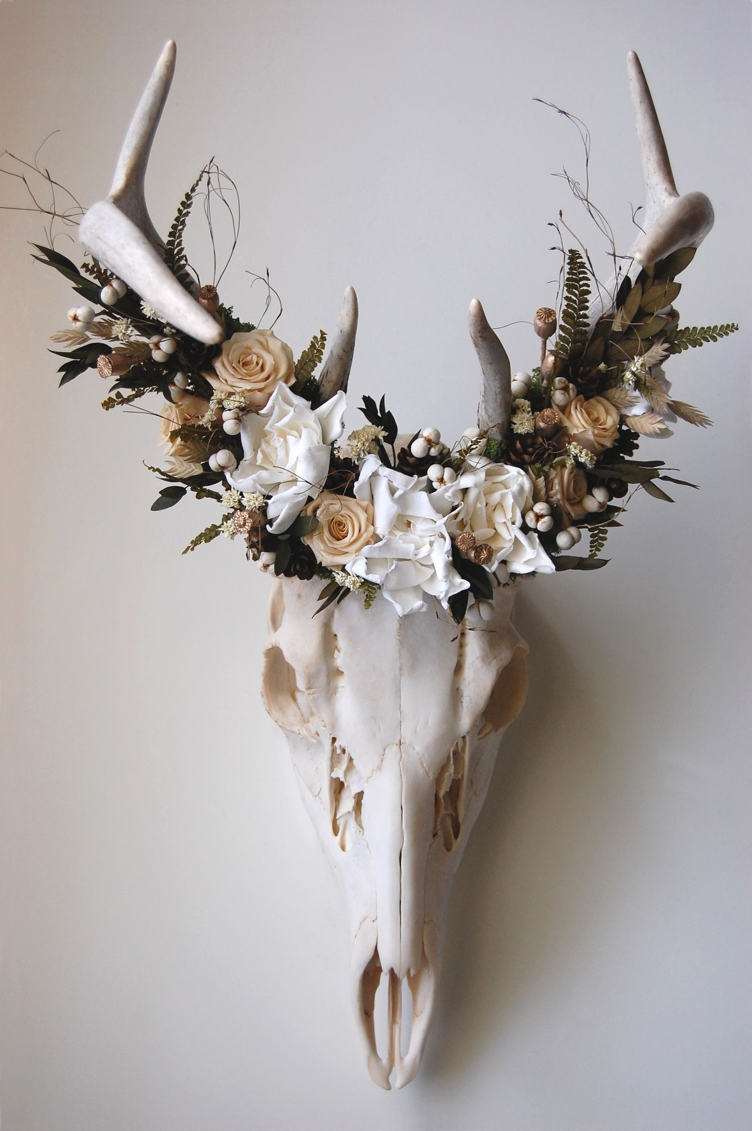 Meghanlacroix Deer Skull With Preserved Flower Crown Home