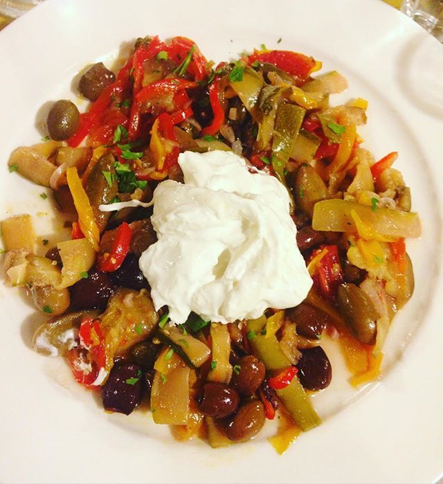 Last meal at a favorite restaurant in Padua. Pickled vegetables with Stracciatella cheese. #padova #cena #italy