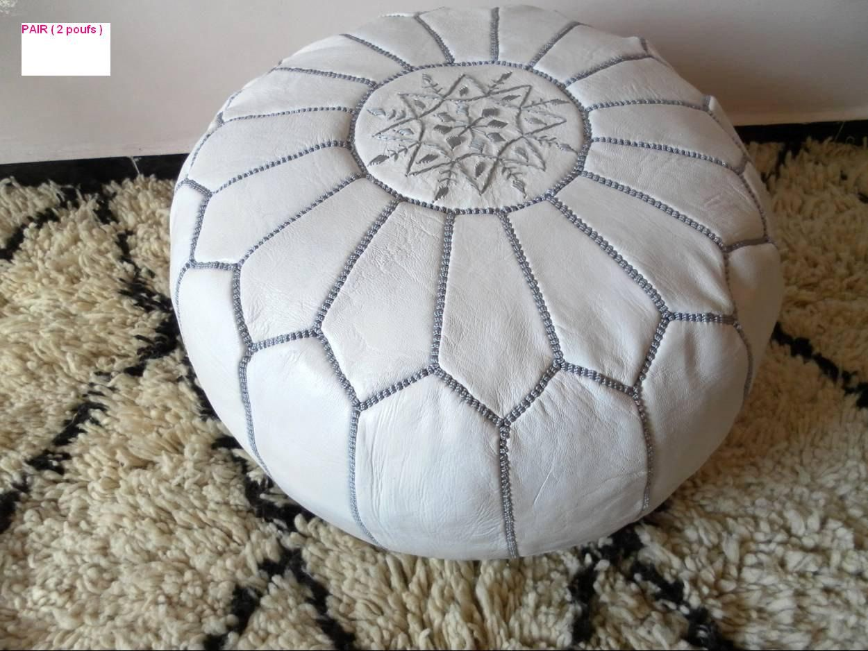 MOROCCAN POUFS handmade ( hand stitched and embroidred) .  Our MOROCCAN LEATHER POUFS will definitely add that original distinctive decorative