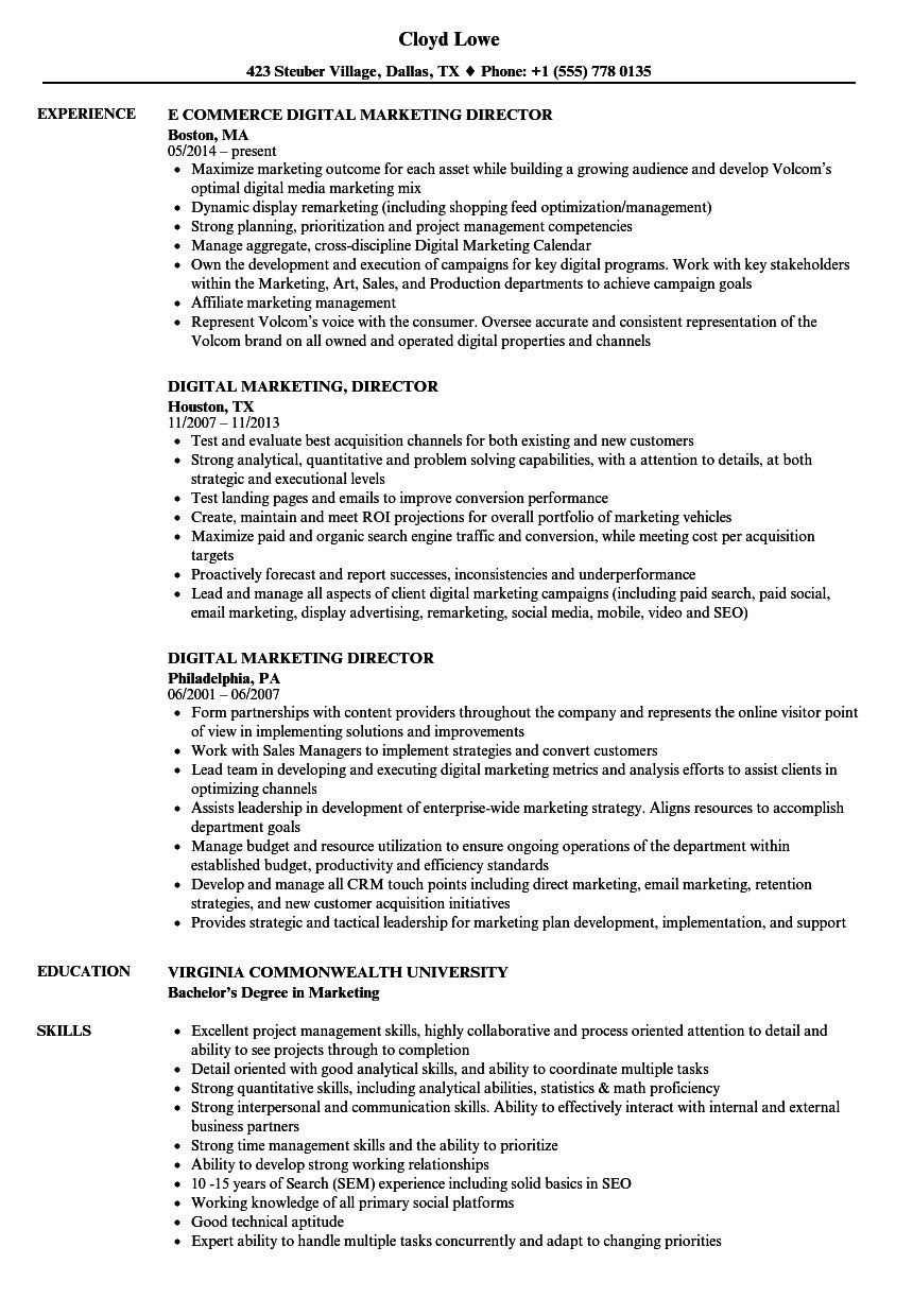 Digital Marketing Resume Example Cool And Elegant Digital Marketing Director Resume Samples O Project Manager Resume Marketing Resume Customer Service Resume