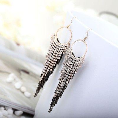 Hoop Rhinestone Chain Fringe Earrings Long Dangle