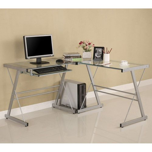 Glass Computer Desks, L Shaped Desk Office Computer Glass Corner With Keyboard Tray Instructions