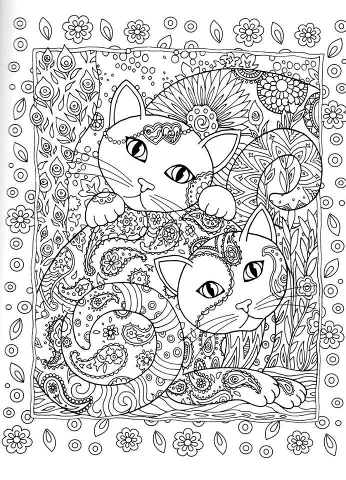 Adult coloring cats on pinterest gatos dover for Cat coloring pages for adults
