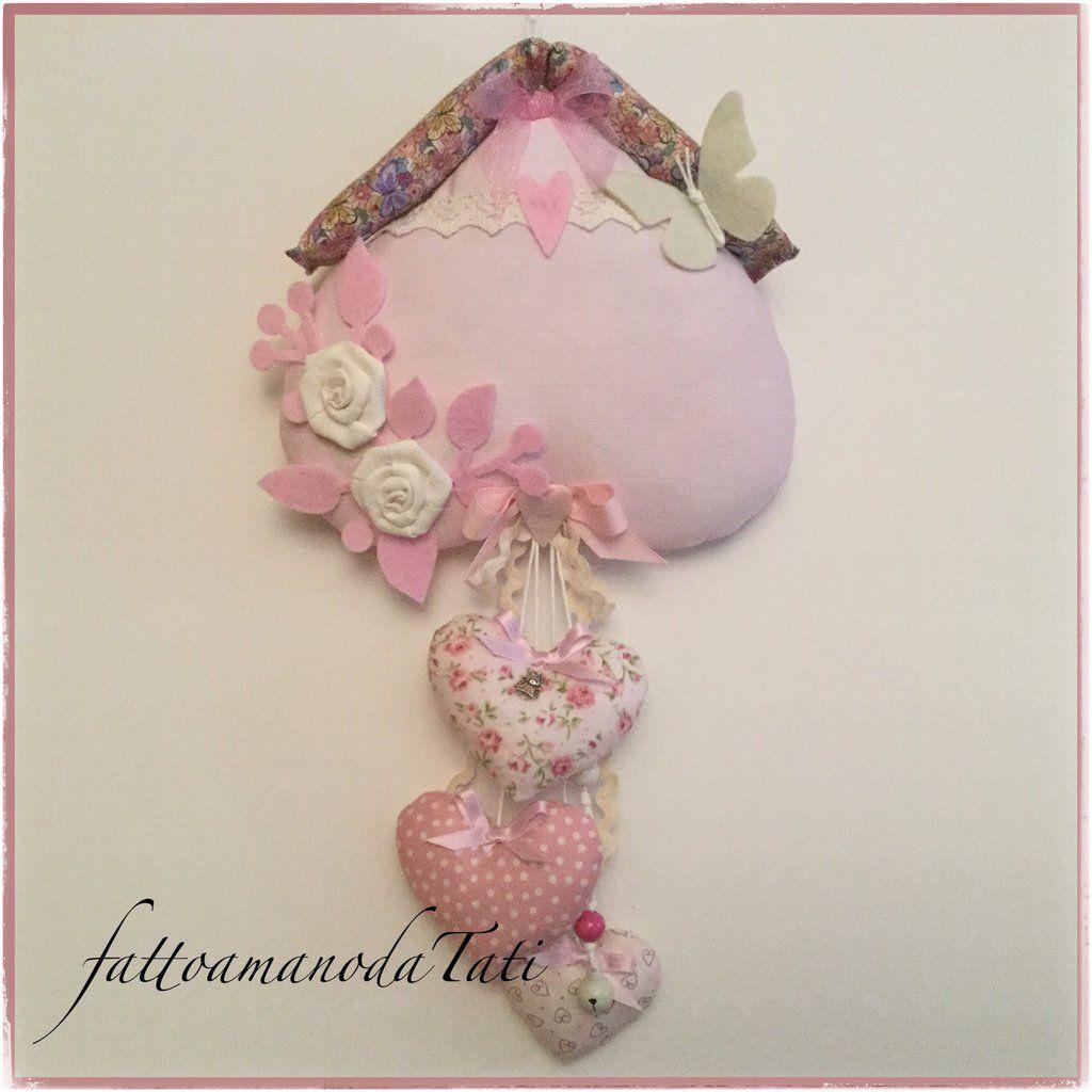 Fiocco Nascita Misshobby.Fiocco Nascita Casetta In Cotone Rosa Con Cuori Rose E Farfalla Cuori Rosa Fiocchi Perline