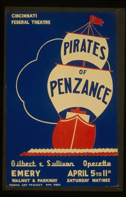Federal Theater Movies Vintage Posters Retro Prints Classic Free Download Graphic Design The Pirate Of Penzance Play