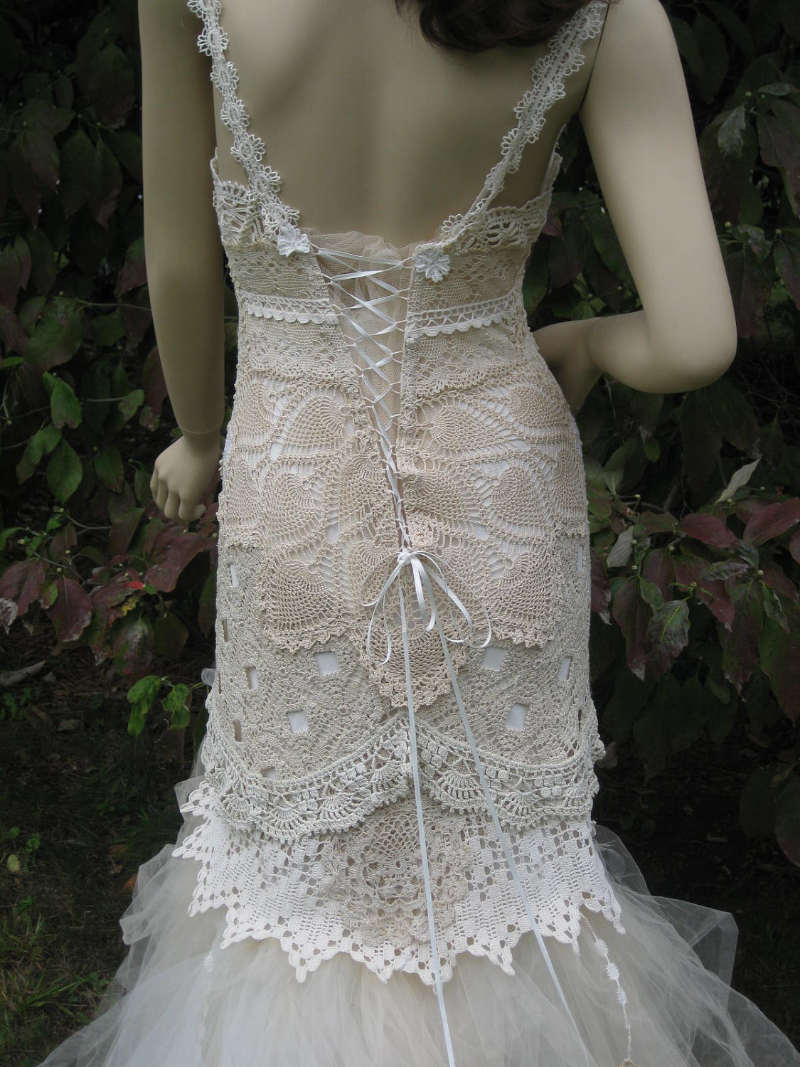 Lace Crochet Tulle Wedding Gown Reserved for Yana