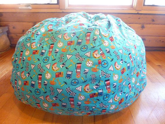 Blue Race Car Accessories Bean Bag Chair Cover By CopperBugCompany 5500