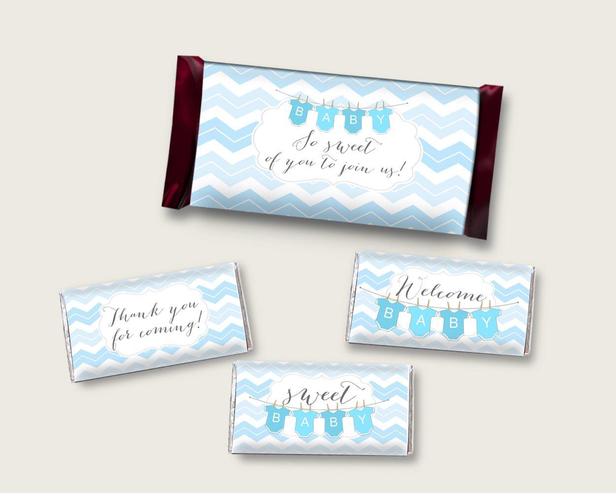 Chevron Hershey Candy Bar Wrapper Printable Blue White