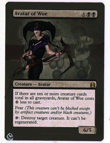 MTG Altered Painted Avatar of Woe commander 2011 FREE SHIPPING