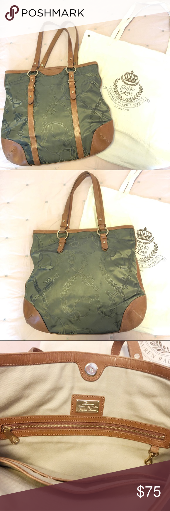 19c0b8489a61 Lauren Ralph Lauren Equestrian Tote Beautiful tote bag with olive equestrian  print and tan leather trim