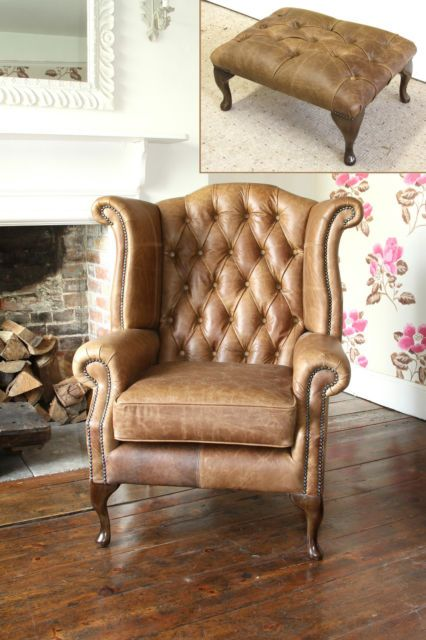 Chesterfield Queen Anne Wingback Chair And Footstool In Vintage Tan Leather Ebay Leather Dining Room Chairs Accent Chairs For Living Room Wingback Chair