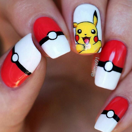 Nails Art Pokemon Go As Well As Nail Polish Bottles Free Image