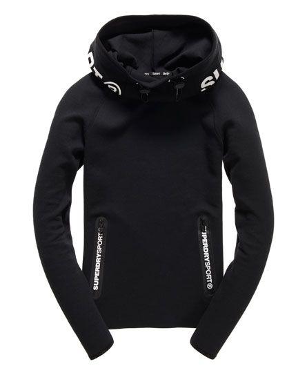 Womens Gym Tech Cowl Hoodie in Black