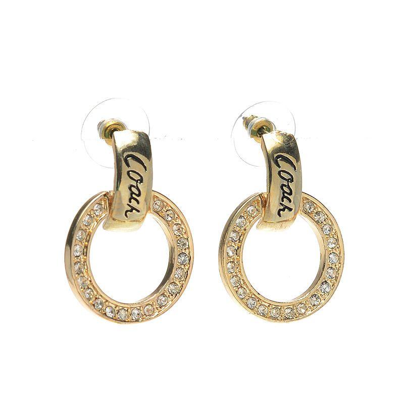 Coach Diamond Circle Stud Gold Earrings AKA Coach FashionBagTime