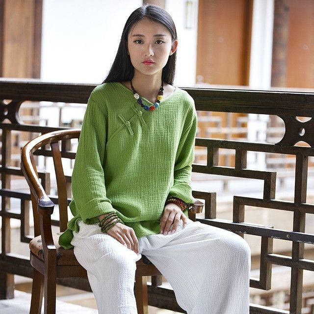 Chinese style Vintage Long sleeve Women Blouse Shirt Autumn New Cotton Linen Casual Shirt Solid White Novelty Blouse Tops B144
