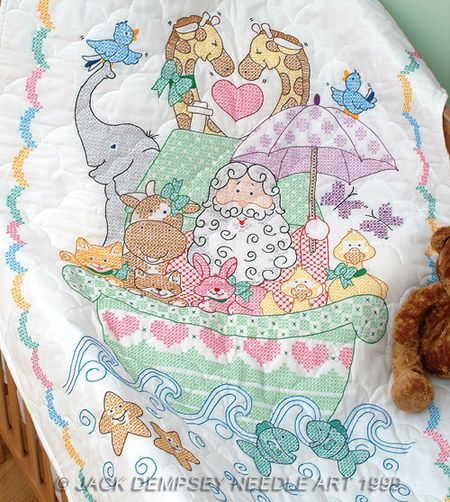 Noah S Ark Crib Quilt Top Stamped Cross Stitch Kit