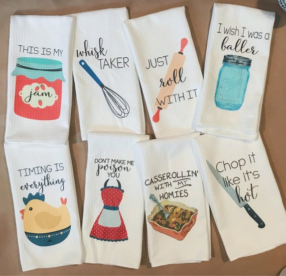 Funny Dish Towels - Foodie Gift - Unique Kitchen Towels ...