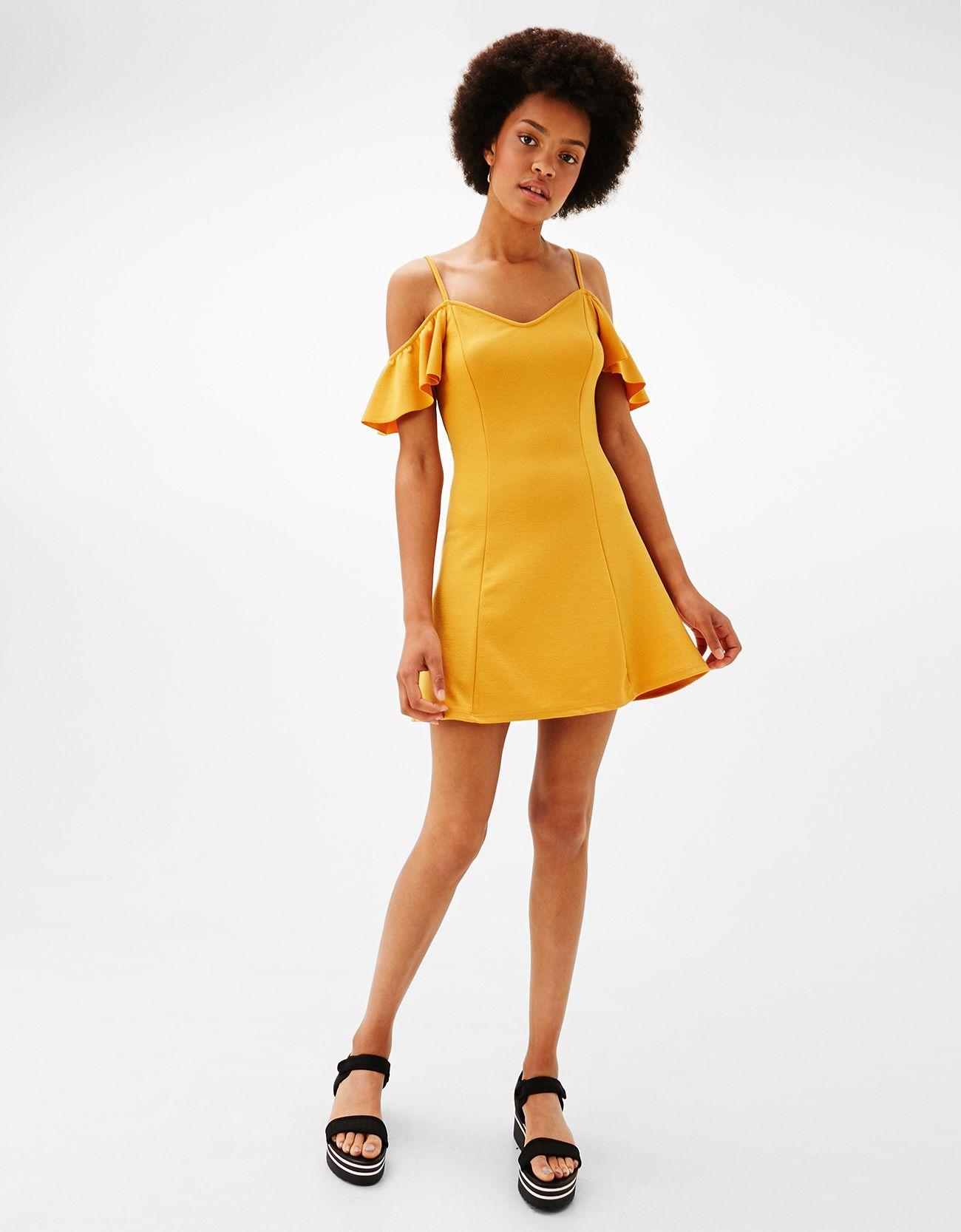 Vestido Corto Línea A Mangas En 2019 Vestidos Amarillos