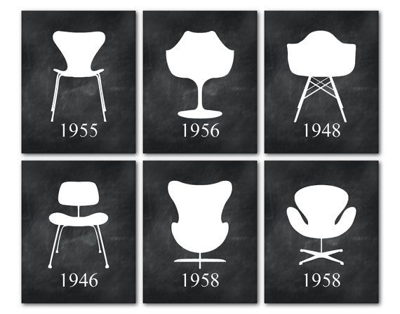 Mid Century Modern Chairs Furniture Art Set Of 6 Prints Eames