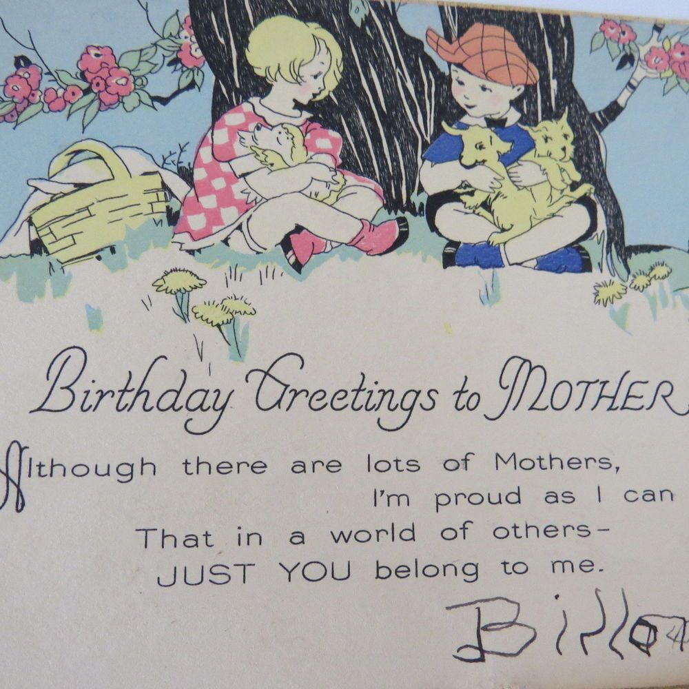 Mothers birthday card 1930s birthday greetings to mother from mothers birthday card 1930s birthday greetings to mother from child son kristyandbryce Gallery
