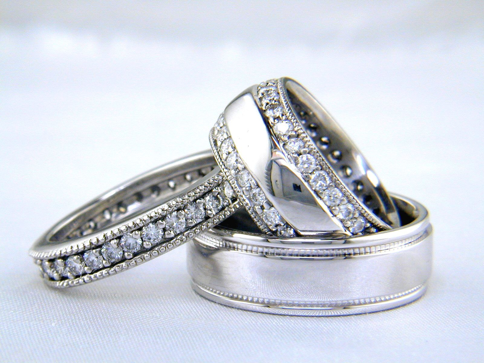set bridal thin platinum diamond band tall product engagement cathedral wedding ring