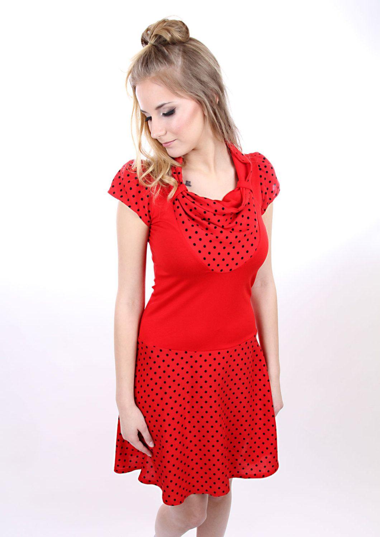 """MEKO """"Primel"""" Kleid Damen Rot Punkte kurzarm von mekoStore ..."""